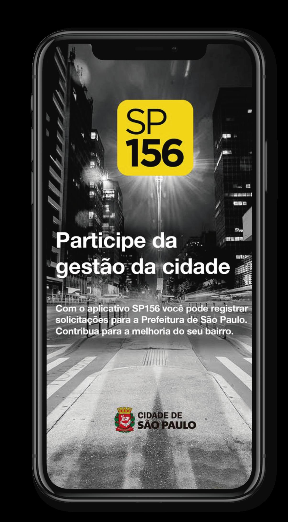 Imagem ilustrativa do aplicativo SP156 - Mostra a interface do aplicativo onde aparece a foto de perfil do usuário e abaixo os serviços disponíveis